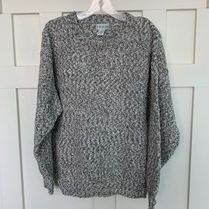 Vintage Izod Black and White Marled Crew Sweater